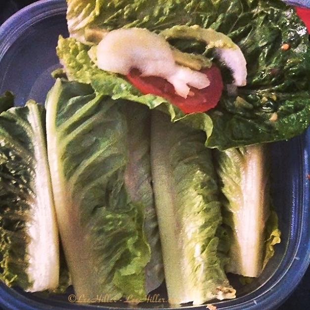 #Vegan Romaine Lettuce Wraps filled with Onion, Tomato and Avocado