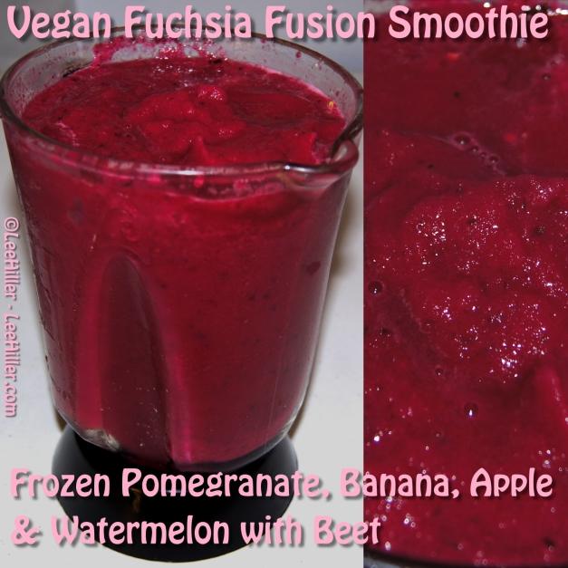 #Raw #Vegan Fuchsia Fusion #Smoothie - Frozen Pomegranate, Banana, Apple & Watermelon with Beet