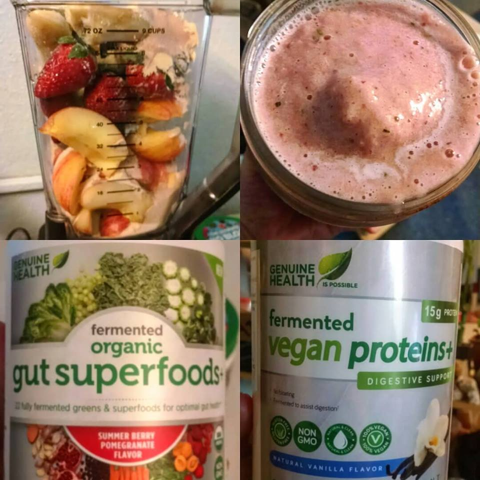 Fruity #MeatlessMonday Smoothie w/ Genuine Health Plant Protein