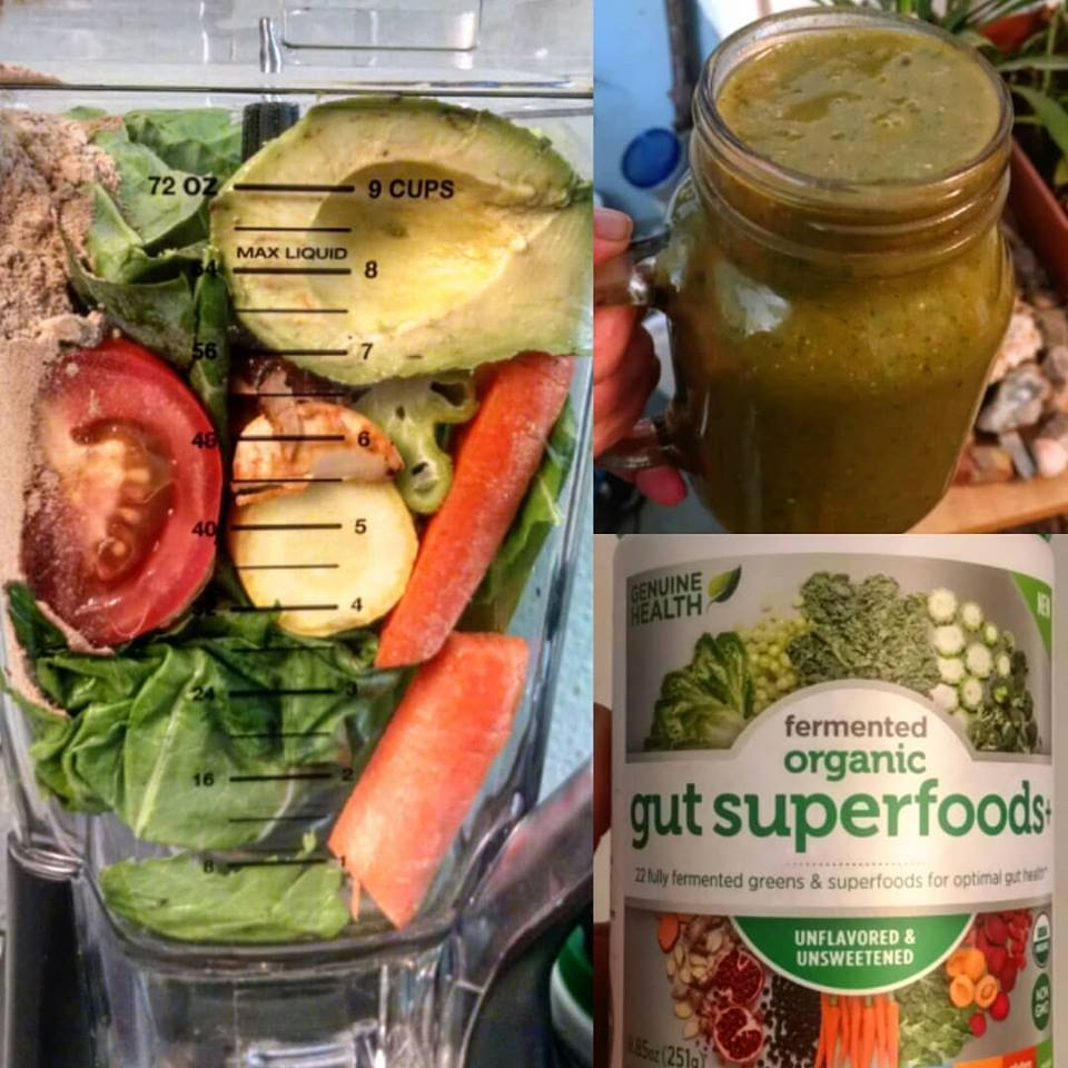 Mixed Veggies Green Smoothie with Genuine Health Superfoods